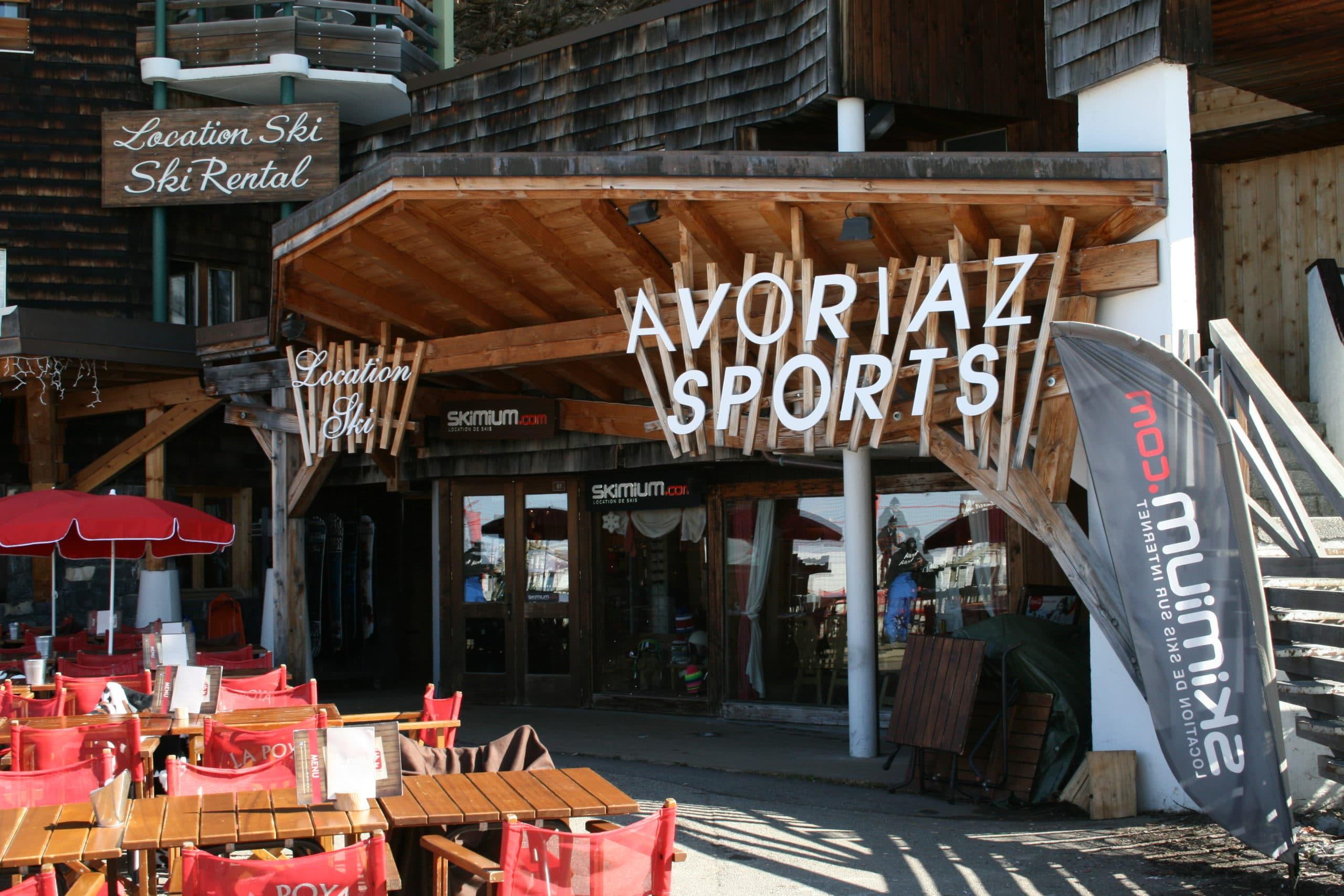 Devanture de la boutique Avoriaz Sports située à Avoriaz 1800